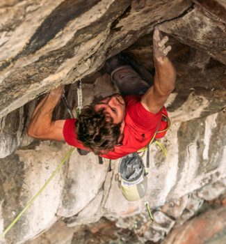 Stefano Ghisolfi through the crux of Change 9b+, Flatanger